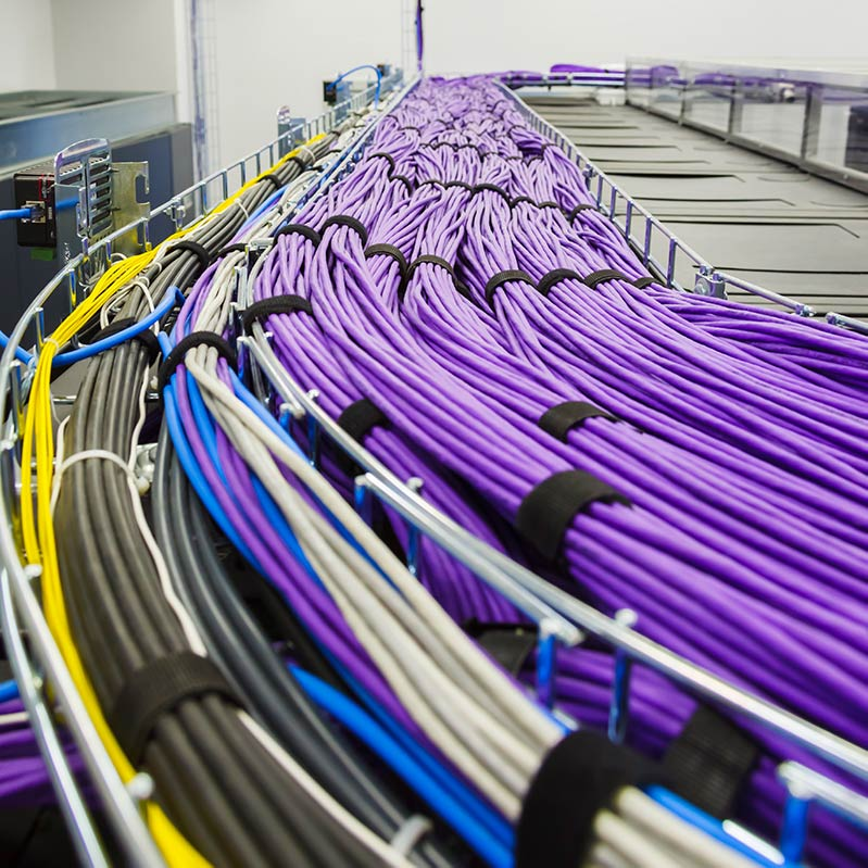 miles of structured cable routed overhead